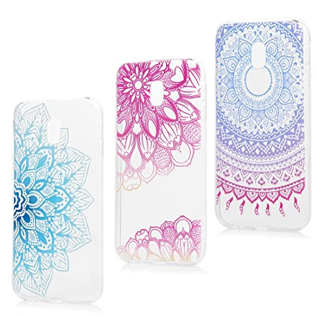 Crystal Soft Bling Glitter Sparkle Gel Compatible with Samsung J3 2017,TPU Silicone Bumper Ultra Thin Slim Rubber Clear Transparent Flower Cartoon Pattern Flexible Protective Back Cover