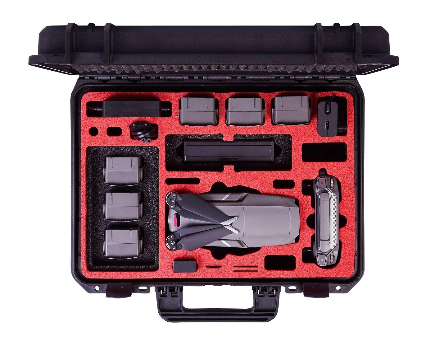 MC-CASES Professional Carrying Case for DJI Mavic 2 Series and DJI Smart Controller Explorer Edition - Space for 9 Batteries - Waterproofed - Made in Germany by mc-cases