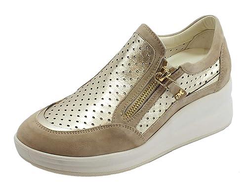 Melluso Sneakers Walk in Pelle e camoscio Colore Corda ed