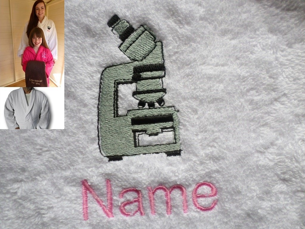 Adult Bath Robe with a MICROSCOPE Logo and Name of your choice in White, Size Medium, Large, XLarge or XXLarge (Medium)