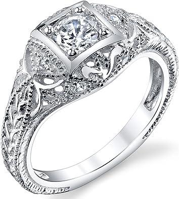CZ Ring Cubic Zirconia Ring Vintage Silver Ring Multi Stone Ring
