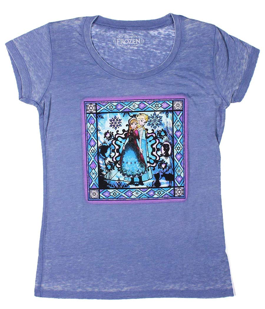 Mighty Fine Frozen Anna and Elsa Stained Glass Junior T-Shirt-Junior X-Large [JXL]