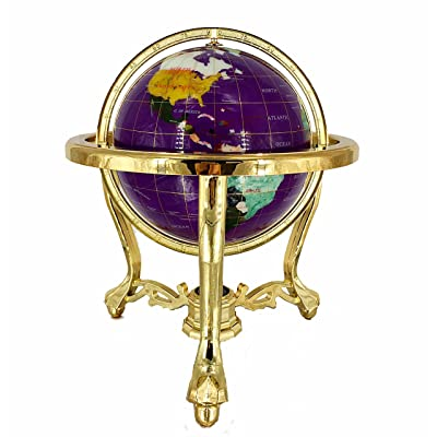"""Unique Art Since 1996 14"""" Tall Gemstone Globe Style Resin Globe with Gold Tripod Stand: Home & Kitchen"""