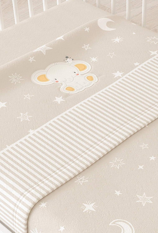 Juego de sábanas de MINICUNA sedalina bordada modelo ELEFANTE (Beige) Babychispitas
