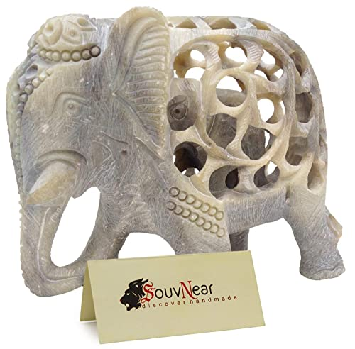 Shalinindia – 5 Inch Handmade Soapstone Collectible Figurine Sculpture of Mother Elephant with Baby Inside – Unique Baby Shower Decorations Elephant Decor Statue from India