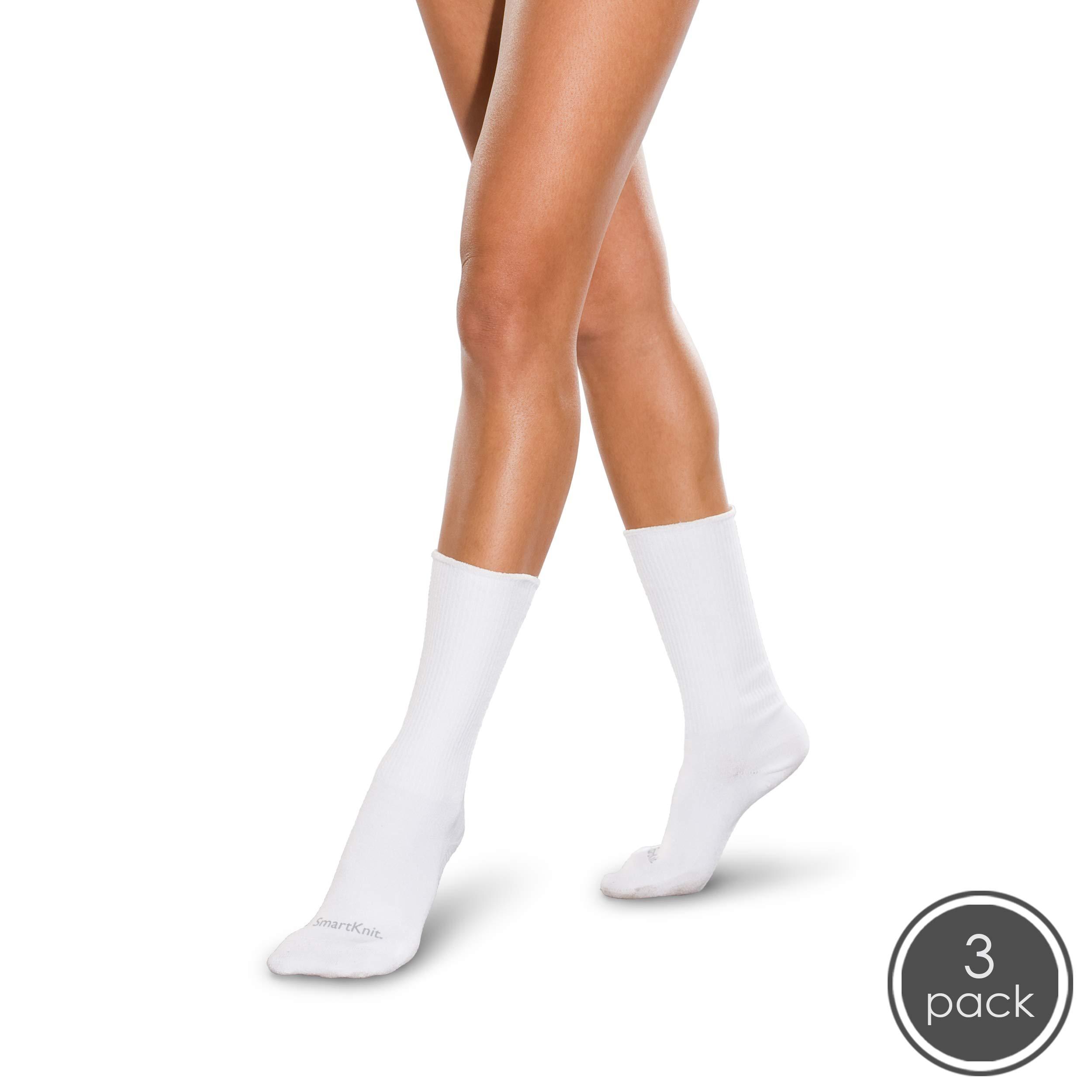 SmartKnit Seamless Diabetic Crew Socks 3 Pack - Medium - White by SmartKnit