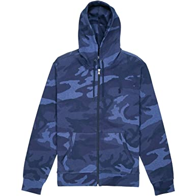 53748aab7 RALPH LAUREN Polo Men s Double-Knit Full-Zip Camo Print Hoodie Jacket (Blue