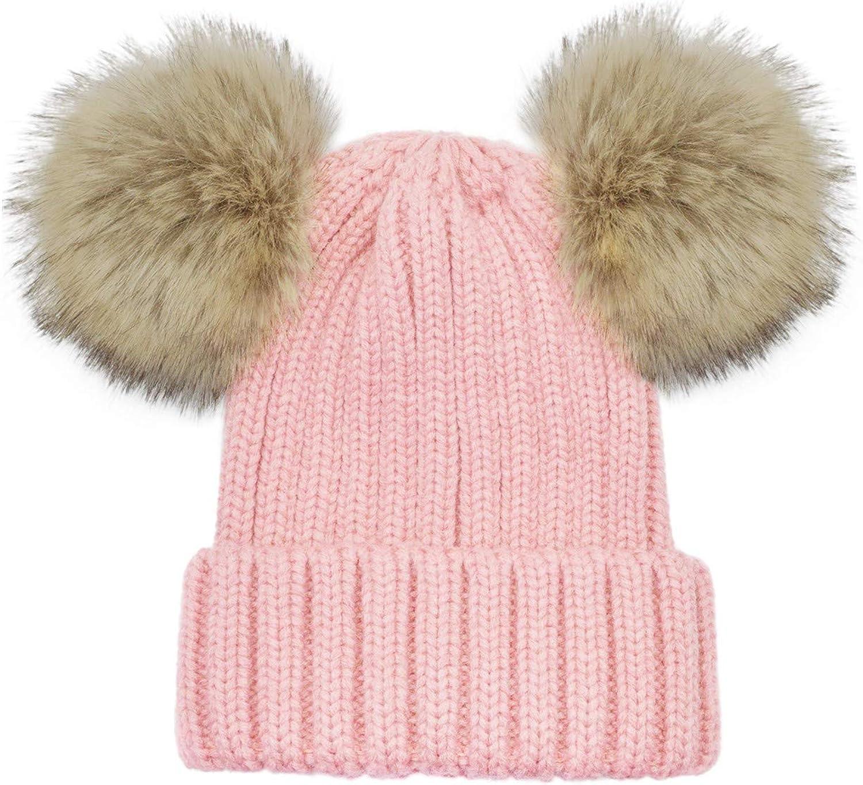 WinCret Warm Kids Winter Hat Cute Pompom Knit Beanie Hat with Fleece Lined for Girls Boys 2-8 Years