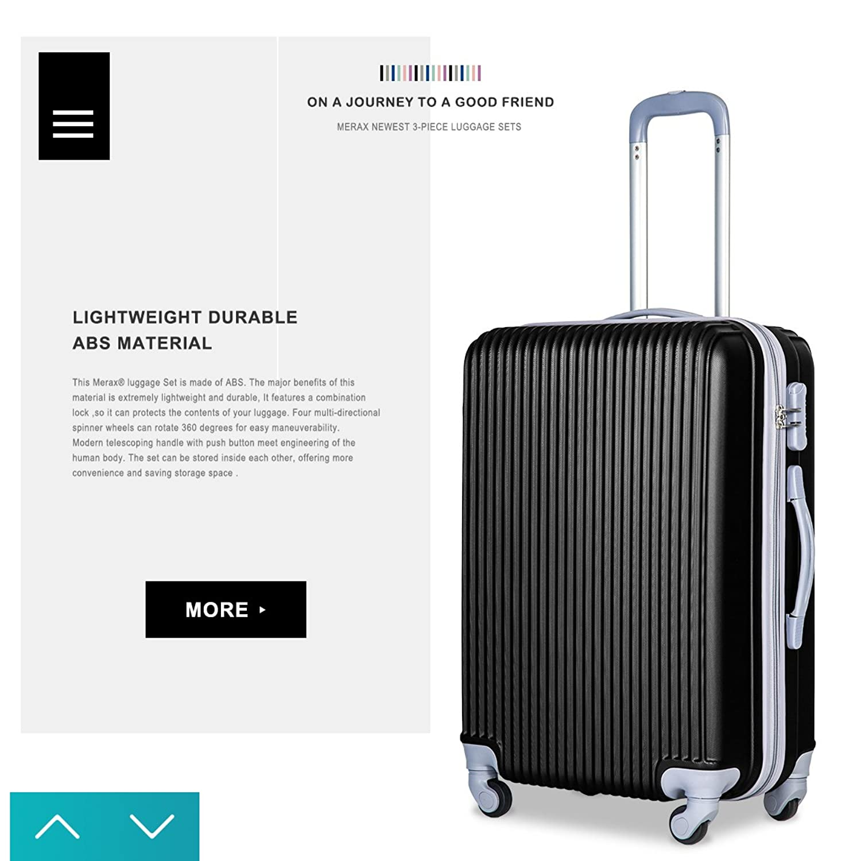 Amazon.com   Merax Newest 3 Piece Luggage Set Suitcase Spinner ...