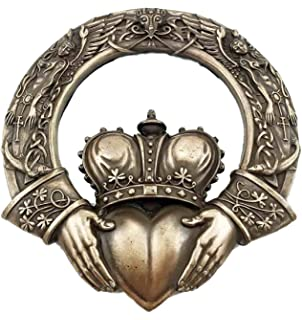 Celtic Claddagh Ring Wall Plaque Figurine Love Friendship Loyalty Home Decor
