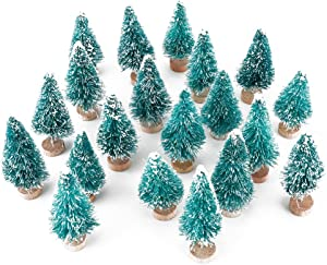 Artificial Mini Sisal Christmas Trees Snow Frost with Wooden Bases for Home Party Decoration Ornament DIY Craft (Blue-Green, 20 pcs)