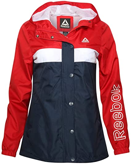 712dc20261a Reebok Ladies Lightweight Hooded Windbreaker Jacket with Zipper and Snap  Button Cover