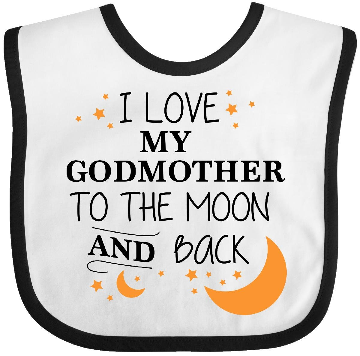 f88d15d92 Inktastic - I Love My Godmother To The Moon and Back Baby Bib White/Black  29641