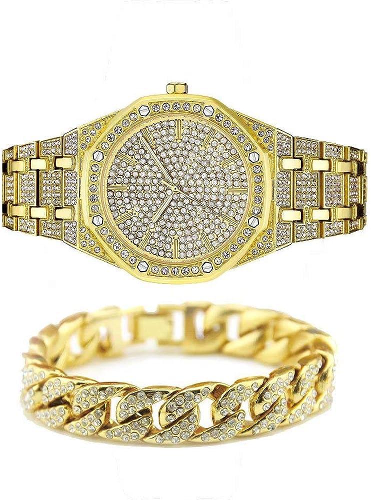 Jacklin-F Unisex Bling-ed out Round Reloj para Hombre Reloj de Diamante Reloj de Hip Hop con a Juego 7.87
