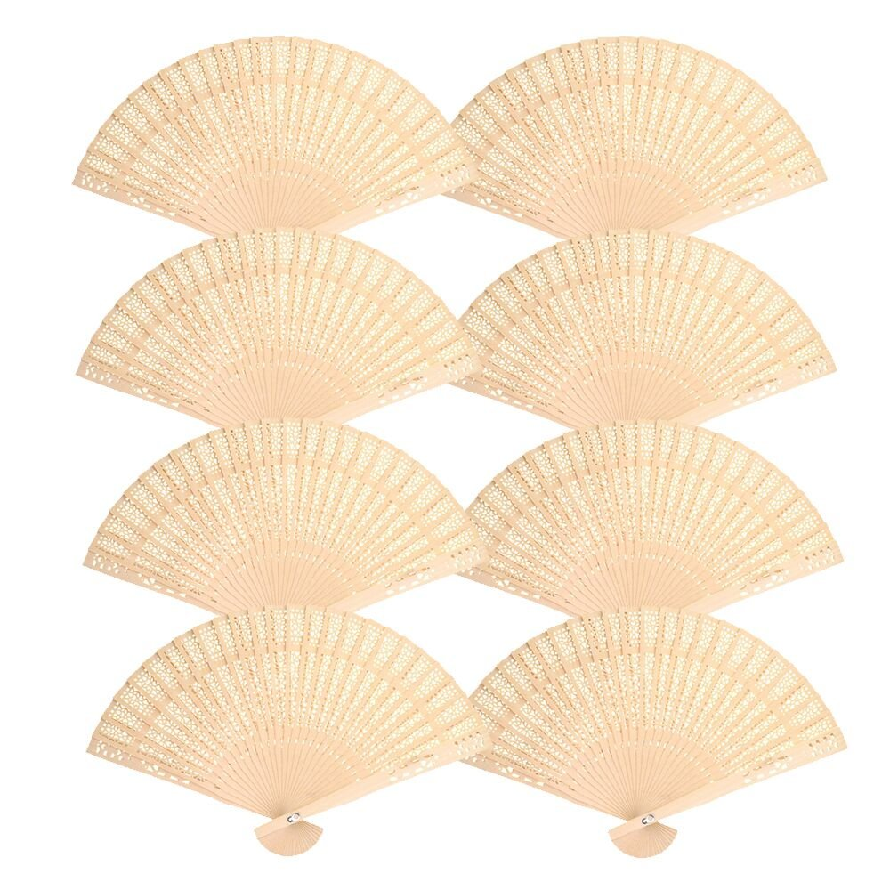 Mcupper-Chinese Sandalwood Fan (Set of 48 pcs) - Hand Held Folding Fans for Wedding Decoration, Birthdays, Home Gifts by Super Z Outlet