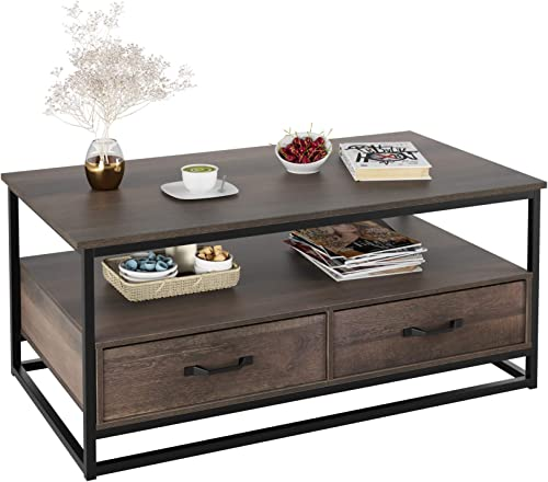 HOMECHO Industrial Coffee Table 43 , Wood and Metal Cocktail Table with Storage Shelf and 2 Drawers for Living Room, Rustic Brown