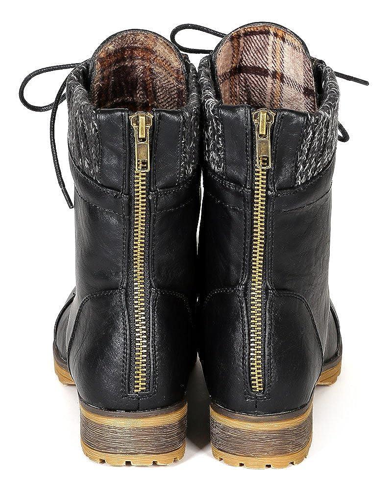 61b6c583638 REFRESH Women Leatherette Sweater Trim Lace Up Mid Calf Combat Boot BI33