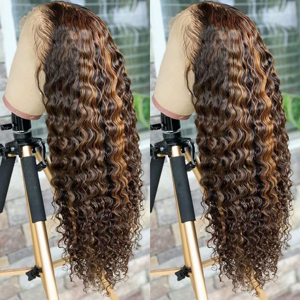 Amazon Com Ten Chopsticks Wigs Hd Transparent 13x6 Highlight Ombre T4 27 Color Curly Lace Front Wig Pre Plucked Bleached Knots Human Hair Wigs For Women Brazilian Deep Wave Curly Wig Human Hair