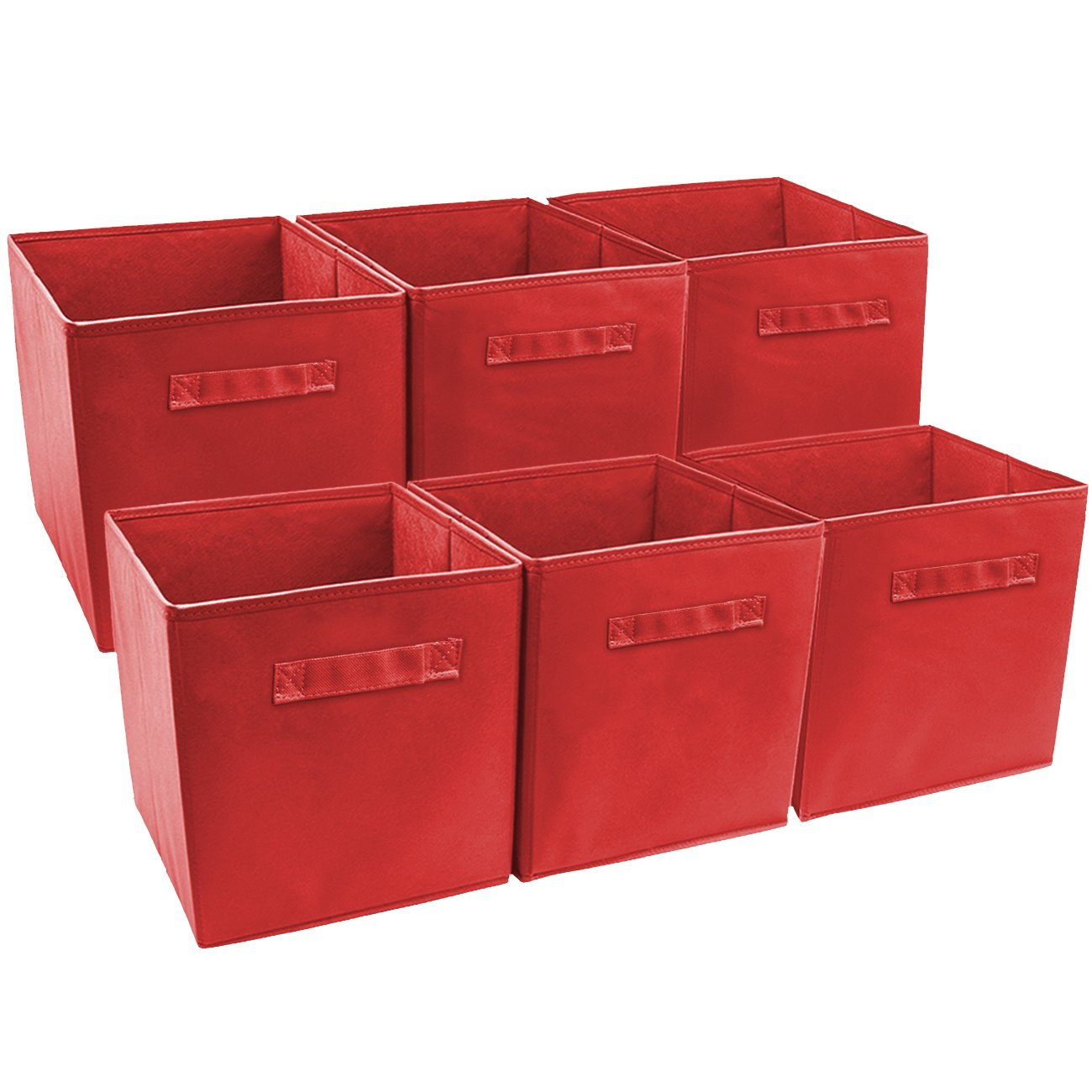 Sorbus® Foldable Storage Cube Basket Bin (6 Pack, Red) STRG-BIN-R-6PK