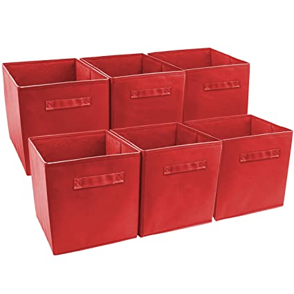 Charmant Sorbus Set Of 6 Cube Storage Bin, Red