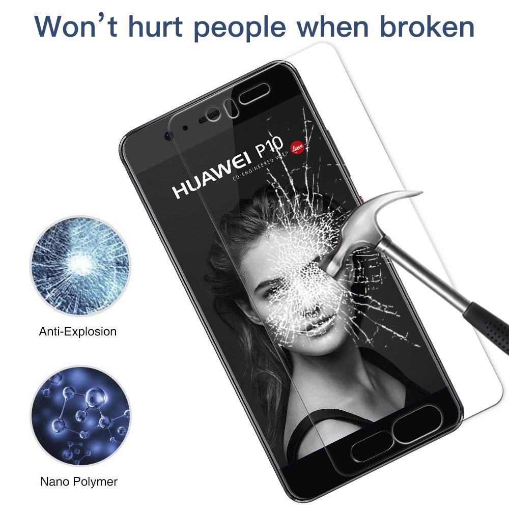 Panzerglas Schutzfolie für Huawei P10 - [2 Stück]Senisttech Huawei P10 Panzerglasfolie - 9H Härte Displayschutzfolie, Ultra Kristallklar 99% Transparenz-Schutz vor Kratzen, Öl, Bläschen