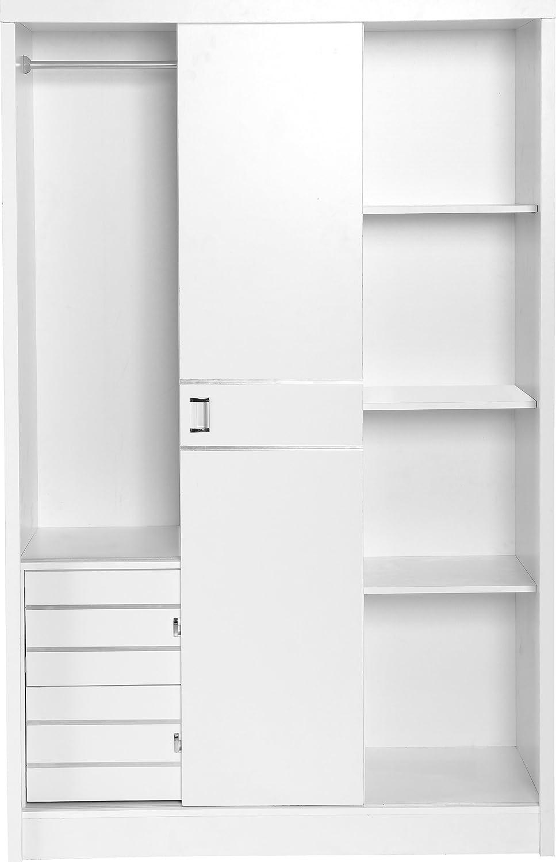 Seconique Jordan - Armario con Espejo corredero, 3 Puertas y 2 cajones (embellecedor Plateado), Color Blanco: Amazon.es: Hogar