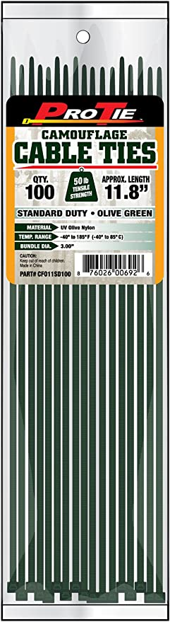 100-Pack Pro Tie CFO4ULD100 4-Inch Olive Green Nylon Ultra Light Duty Cable Ties