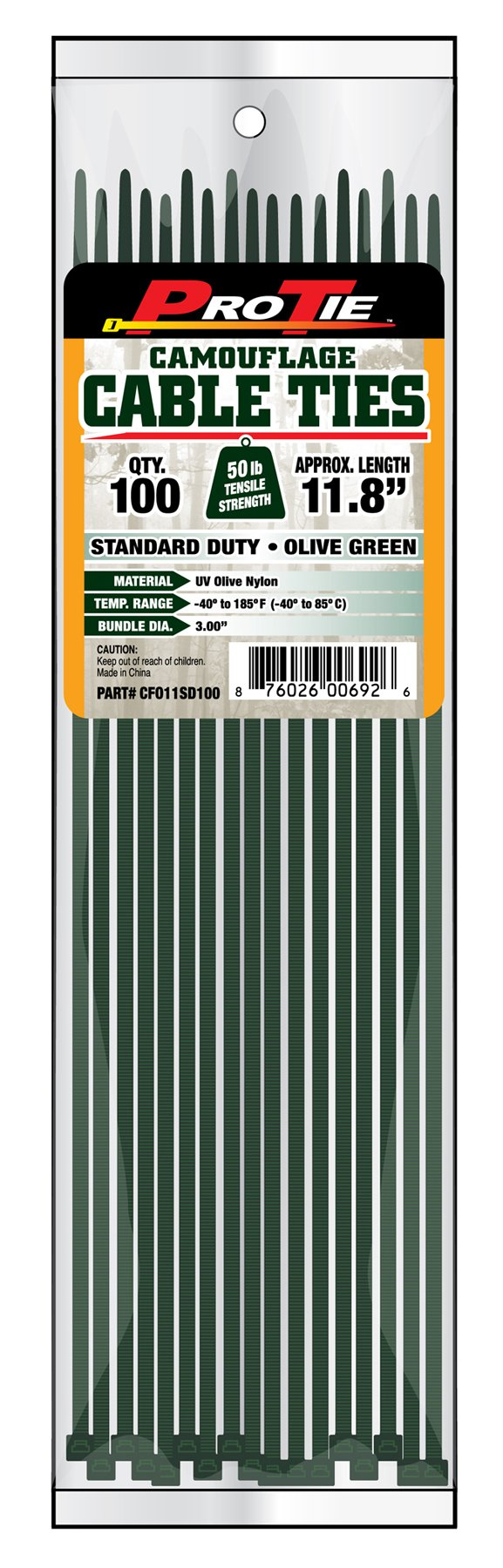 Pro Tie CFO11SD100 11-Inch Olive Green Nylon Standard Duty Cable Ties, 100-Pack