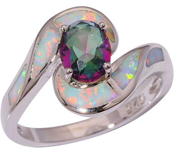 Gemmart Created White Opal Mytic Zirconia cubic zirconia engagement rings