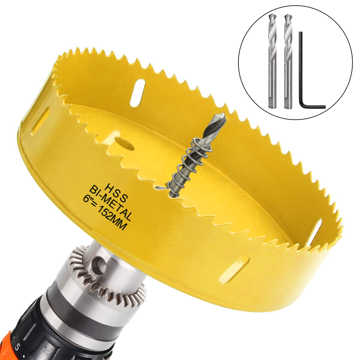 6 inch Hole Saw Blade for Cornhole Boards Corn Hole Drilling Cutter 152mm in Diameter BI-Metal Heavy Duty Steel & Hex Shank Drill Bit Adapter By STARVAST for Cornhole Game, Home Improvement (Yellow)