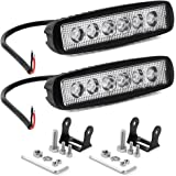 YITAMOTOR LED Light Bar,2PCS 18W 6Inch Flood LED Work Light Pods Single Row Offroad Led Light Driving Light Fog Light Boat Light Waterproof for SUV ATV 4WD Car Truck Golf Cart 12V 24V,2 Years Warranty