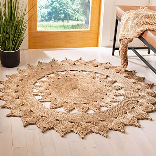 Safavieh Natural Fiber Round Collection Hand-Woven Jute Area Rug, 10 Round, Natural