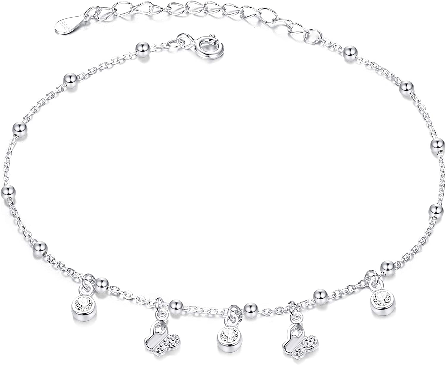 Sllaiss 925 Sterling Silver Dainty Butterfly Beach Anklet for Women Cute CZ Anklet Summer Beach Foot Ankle Bracelet Adjustable White Gold Plated Tiny Bead Chain Anklet