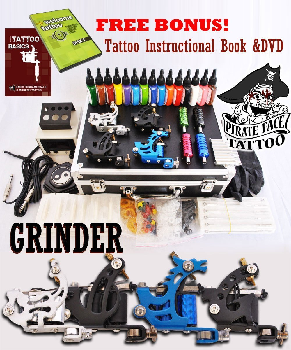 GRINDER Tattoo Kit by Pirate Face Tattoo / 4 Tattoo Machine Guns - Power Supplies / 15 INK / LCD Power Supply / 50 Needles / PLUS Accessories