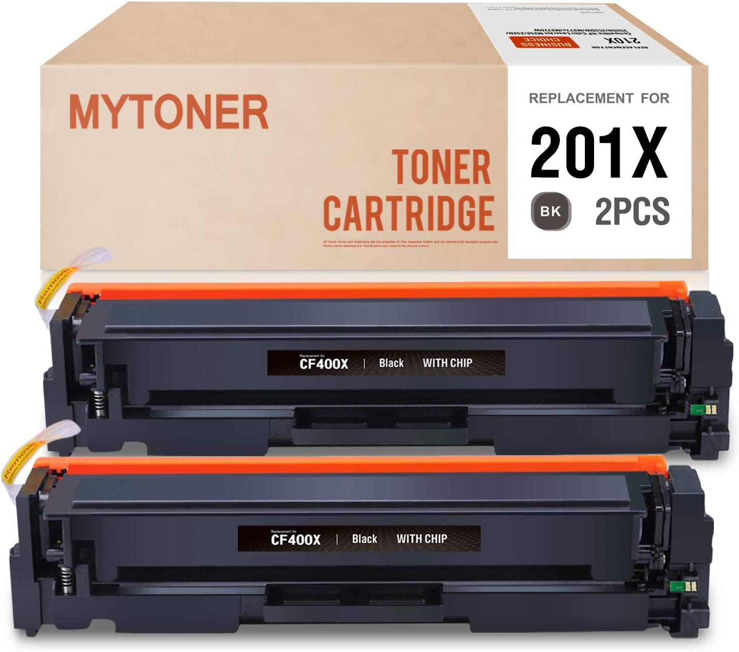 MYTONER Compatible Toner Cartridge Replacement for HP 201X CF400X for HP Color Laserjet Pro MFP M277dw M277n M277c6 M277 M252dw M252n M252 201A Printer High Yield Ink (Black, 2-Pack)