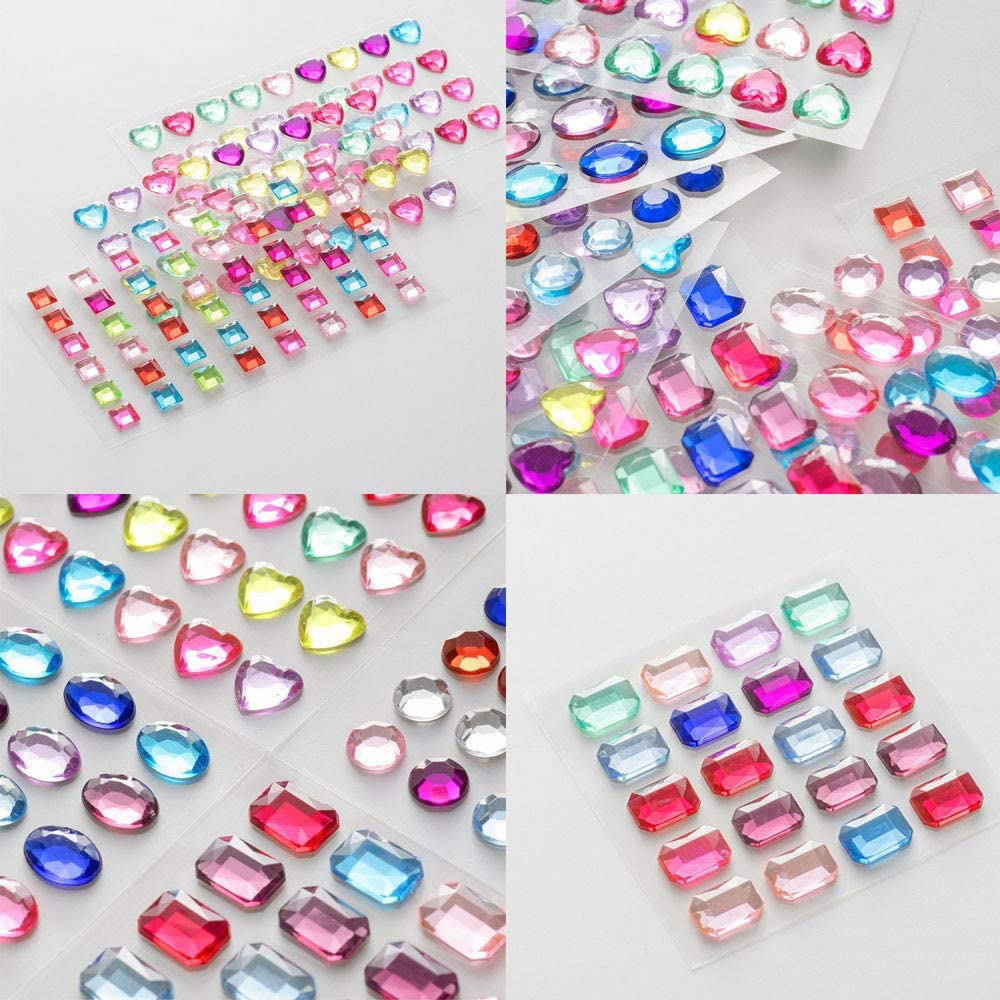 10 Sheets 406 Pieces Self-Adhesive Multicolor Flatback Rhinestone Sticker Gems Assorted Size and Shapes Bling Craft Jewels Crystal Gem Stickers