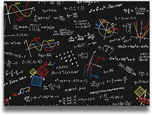 Martoo Art Mathematical Equation Framed Canvas Decorative Artwork Abstract Oil Paintings Wall Art for Living Decoration Bedroom Decor