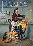 """Millésime Barbier et Salon de Coiffure """" SAVON À BARBE PEARS """" Sur Format A3 Papiers Brillants de 250g. Affiches de Reproduction"""