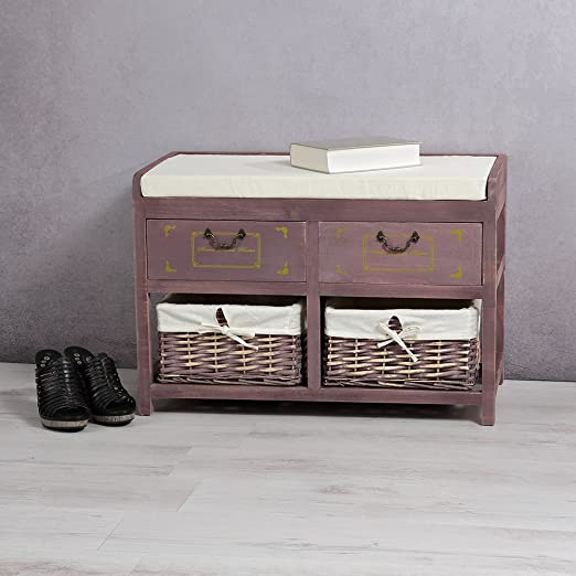 Mobili Rebecca® Truhe Sitzbank Aufbewarungsbox 2Schubladen 2Weidenkörbe weiß