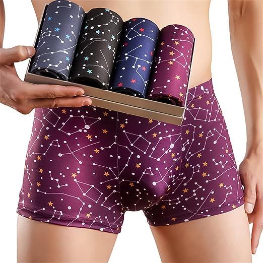 Srueir Mens Boxer Briefs Underwear 4 Pack Comfortable U Convex Pouch Underpants Plus Size XL -