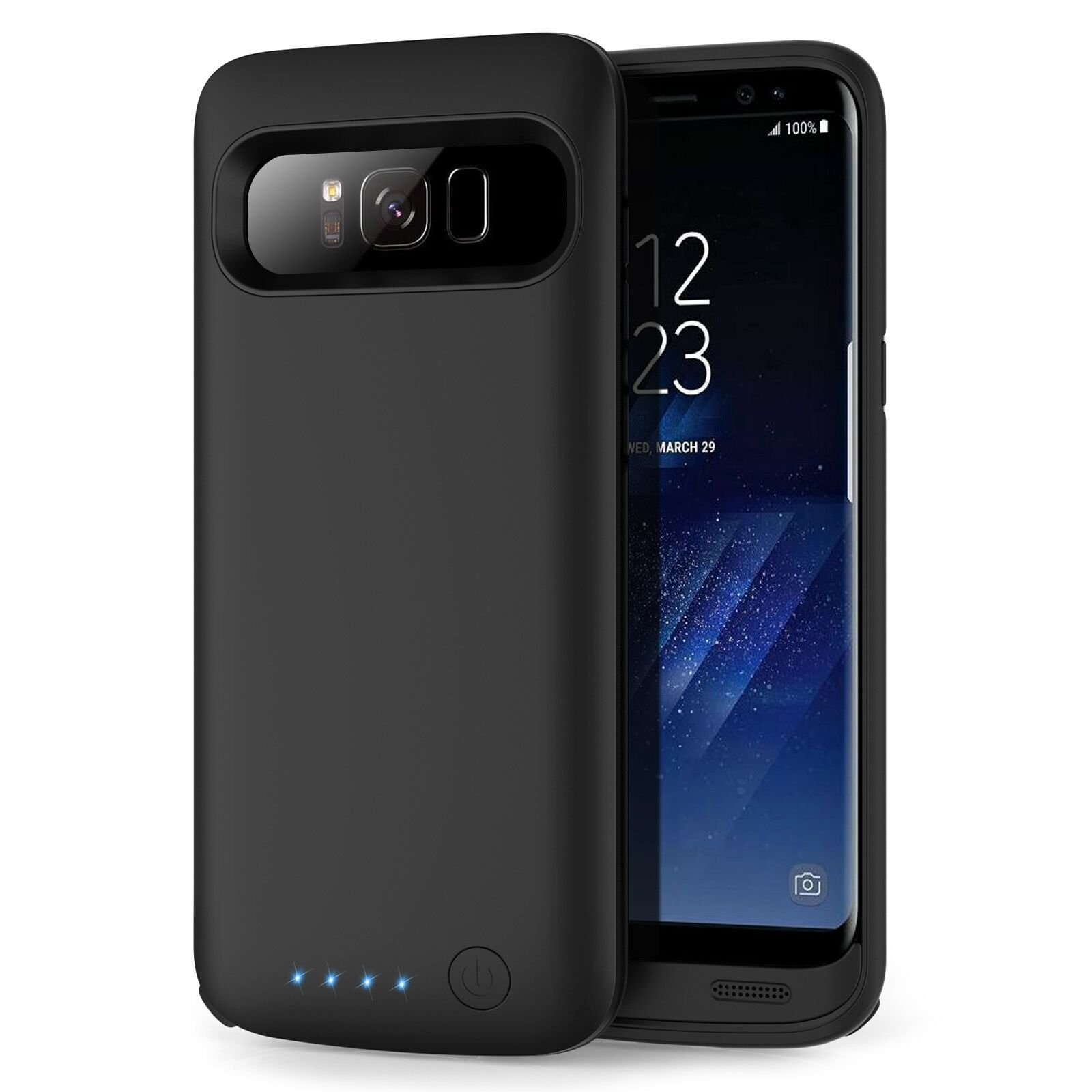Galaxy S8 Plus Battery Case 6500mah,Rechargeable Charging CaseforSamsung GalaxyS8 Plus Backup Power Case Samsung S8+ Battery Cover-Black by Pxwaxpy (Image #1)