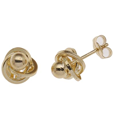 5823ab141 Adara 9 ct Yellow Gold Knot/Ball Stud Earrings: Amazon.co.uk: Jewellery