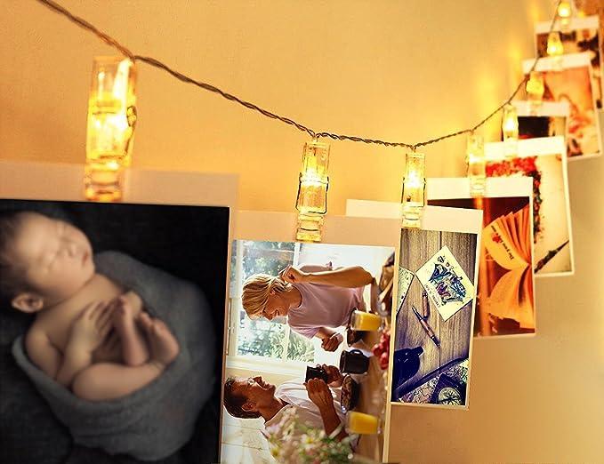 Led foto clips catene luminose apogo cornice portafoto collage 40