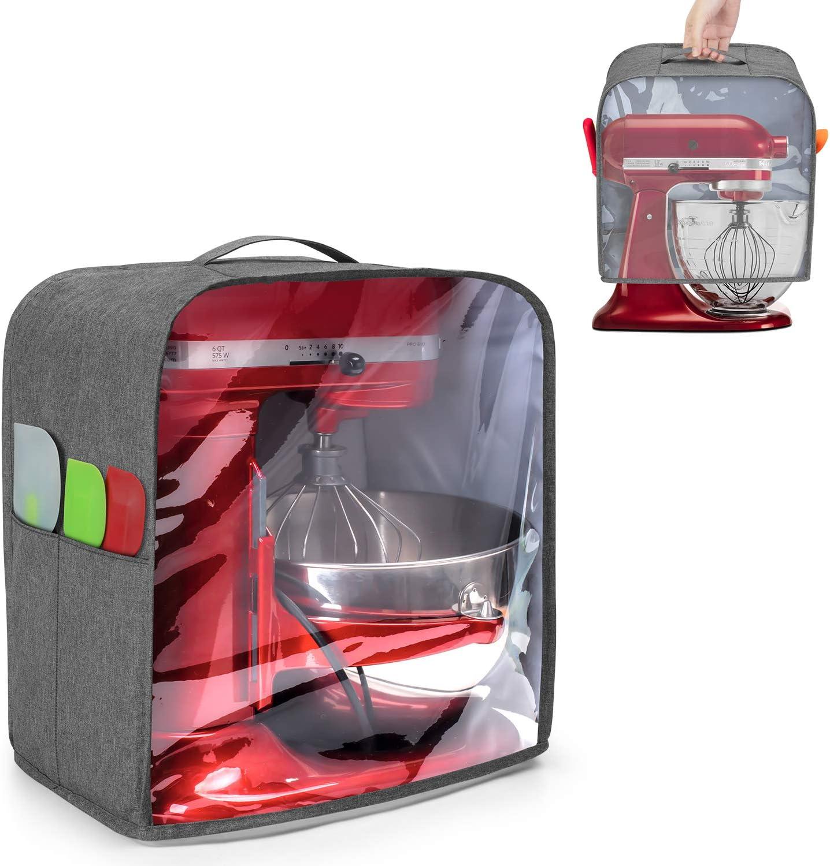 Luxja Cubierta para Batidora Amasadora (4,3 Litros y 4,8 Litros), Cubierta de Polvo para KitchenAid Robot de Cocina (con Panel Frontal Transparente), Gris