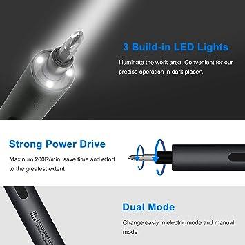 Tournevis électrique de précision, mini tournevis électrique rechargeable sans fil avec lumières LED et tapis magnétique, including 24 bits pour