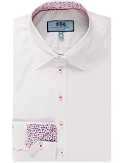 93e20311f68c HAWES & CURTIS Womens White Fitted Stretch Shirt with Contrast Detail - Single  Cuff