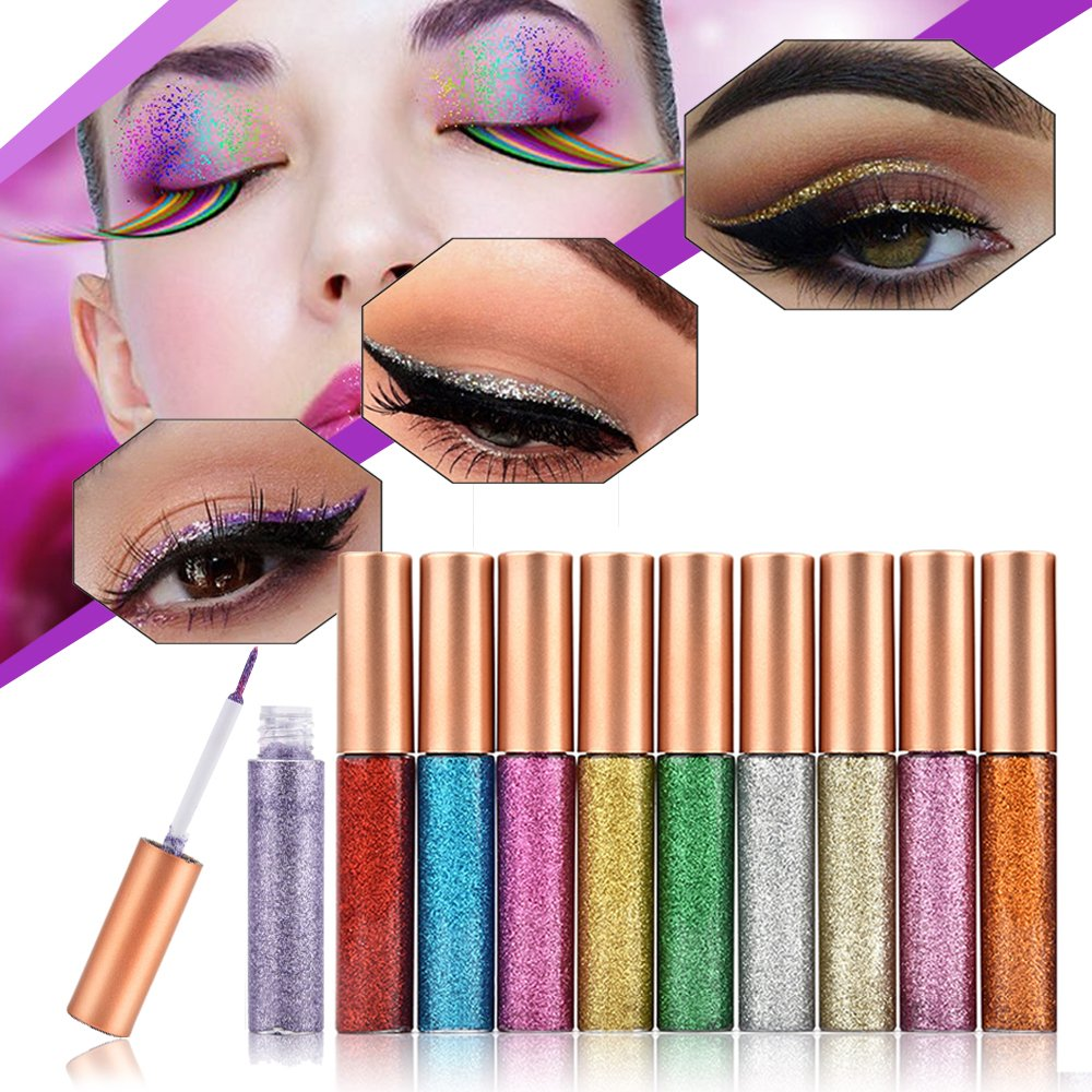 MS.DEAR Glitter Liquid Eyeliner Liquid Set, 10 PCS Long Lasting Waterproof Sparkling Eyeliner Eye Shadow Pen for Wedding Party Cosplay Makeup Eye Liner – 10 Color