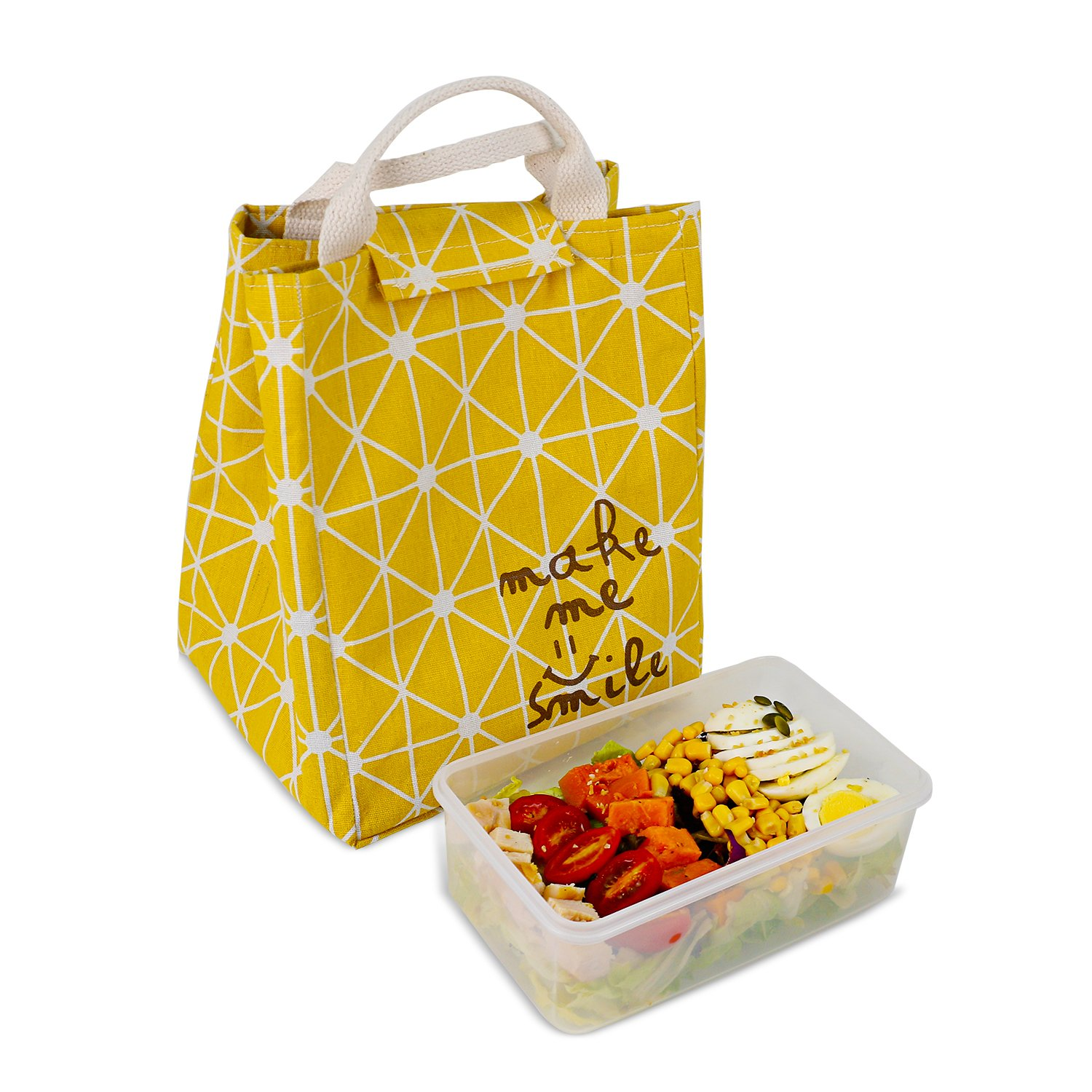 HOMESPON Reusable Lunch Bags Printed Canvas Fabric with Insulated Waterproof Aluminum Foil, Lunch Box for Women, Kids, Students (Rhombus Pattern-Yellow) by HOMESPON (Image #2)