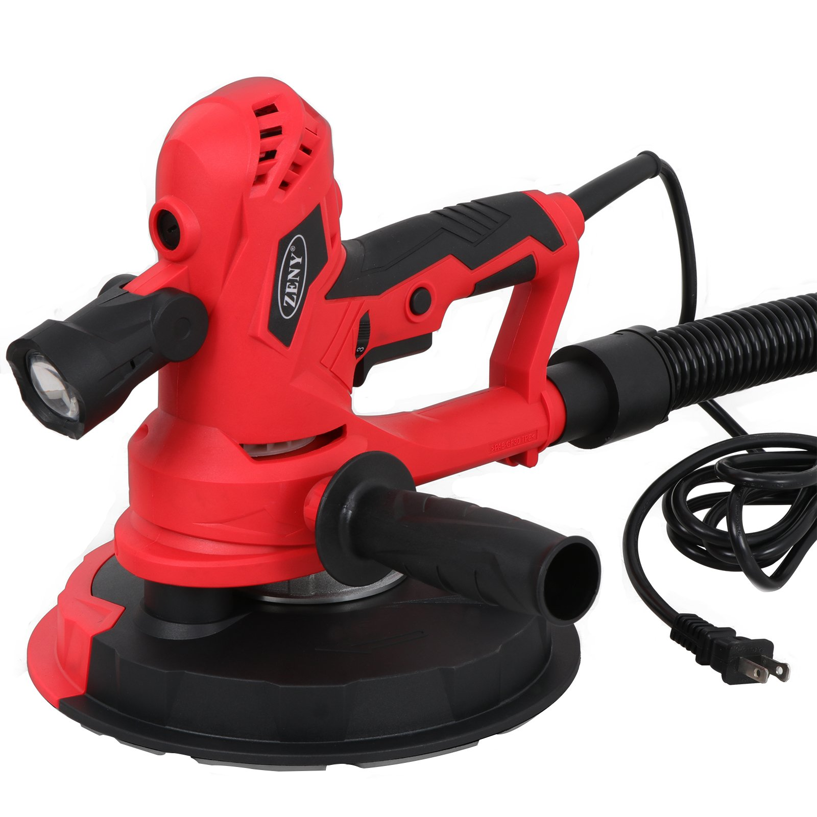 ZENY 750W Electric Hand Held Drywall Sander Variable Speed with Vacuum and LED Light and 6 Sanding Discs and Hose (750W handheld)