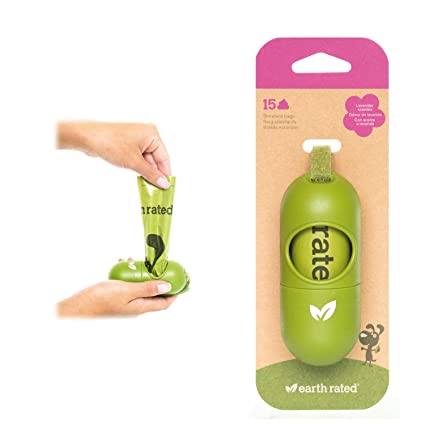 Earth Rated DISPGREEN - Dispensador para bolsas de residuos para perros con 15 bolsas biodegradables de